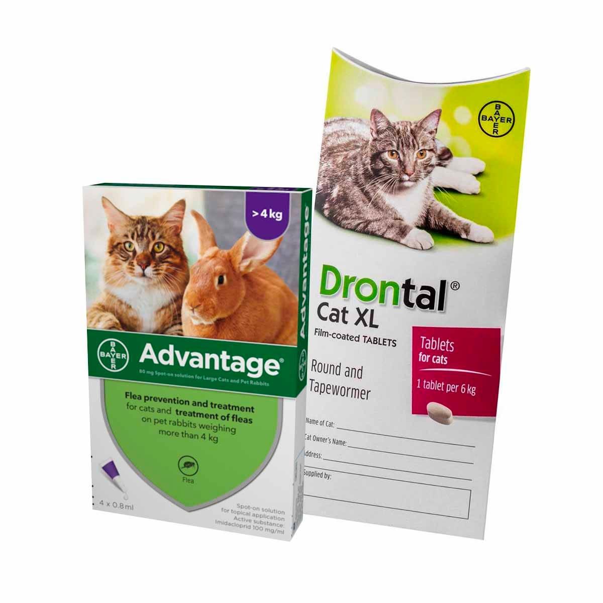 12 Month Flea & Worm Treatment For Cats – Advantage & Drontal